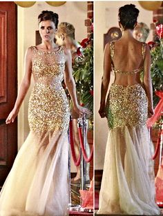 Absolutely stunning gold sequined gown