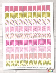 Pink Patterned Flags Printable Planner Stickers – Instant Download PDF for your Erin Condren Life Planner