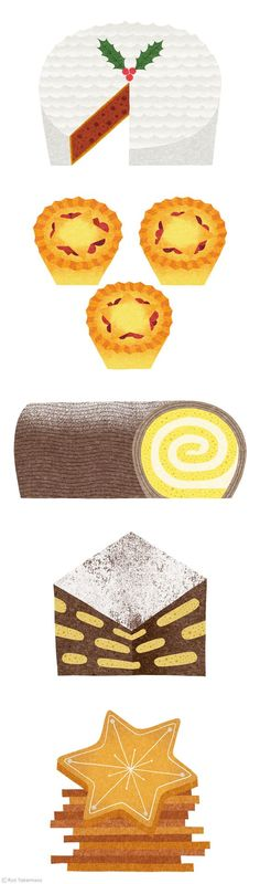 Christmas food illustrations by Ryo Takemasa. love the textures in these: