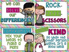 FREE conflict resolution posters to help students to learn to work together and solve differences on their own.