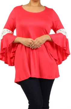 Plus Size Rayon Tunic Top with Lace Sleeves, $40. SHOP @ www.facebook.com/beyoutifulboutique