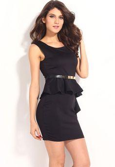 HisandHerFashion Sided Draped Stylish Black Peplum Women Dress