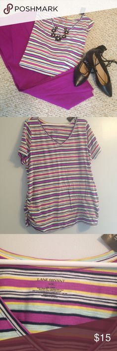 NWT Lane Bryant Striped T-Shirt NWT Lane Bryant colorful T-shirt.  Navy, white, yellow and fuschia stripes make this a real go-to piece! Size 18-20. Lane Bryant Tops Tees - Short Sleeve