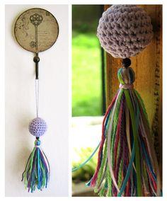 colgante Bulubú borla de cintas y lana