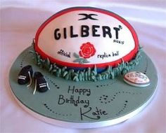 Rugby Cakes .love the idea of shaping it like a rugby ball! It even has the Gilbert brand on it. Who wouldn't love this for a boys birthday party or grand final party.