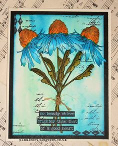 Ink on My Fingers: Sunday Stamper - Week 352 - True Blue using Tim Holtz, Ranger, Idea-ology, Sizzix and Stamper's Anonymous products; Apr 2015