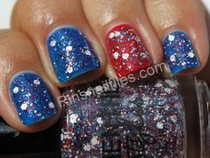 Elemental Styles U.S.A-mericium over China Glaze Ride the Waves and Poinsettia.