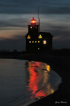 Nighttime at the Big Red Lighthouse - Holland, Michigan