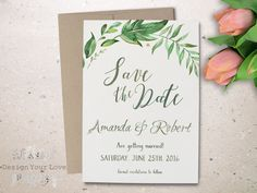 "printable leafy save the date green wedding save the date printable greenery leafy wreath watercolor greens calligraphy save the date 5""x7"""