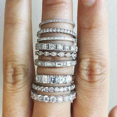 Stacking it up. These gorgeous diamond rings are available in our SF store and online (click shoppable link in our bio). Tag your girls!