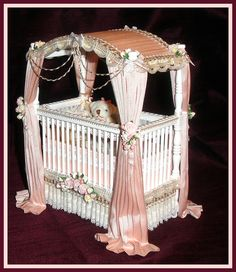 MISCELLANEOUS ITEMS - SIMPLY SILK MINIATURES Miniture Dollhouse, Miniature Rooms, Miniature Furniture, Dollhouse Furniture, Dollhouse Miniatures, Dollhouse Ideas, Baby Doll Bed, Baby Doll Nursery, Victorian Dolls