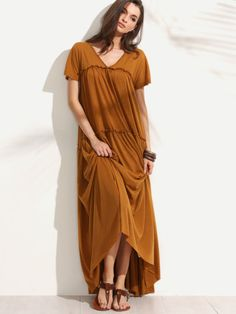 a5fc00861671 Frill Floor Length Swing Dress Maxi Dress With Sleeves