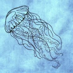Making Embroidery Easier for You! Jellyfish Drawing, Jellyfish Painting, Machine Embroidery Patterns, Diy Embroidery, Fabric Cards, Creation Couture, Painting Patterns, Cross Stitch Patterns, Needlework