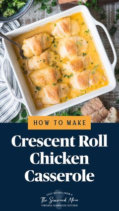 Fast Easy Meals, Easy Healthy Dinners, Oven Dishes, Food Dishes, Chicken Casserole, Casserole Recipes, Crescent Roll Recipes, Low Sodium Chicken Broth, Yummy Chicken Recipes