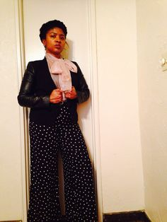There's beauty in a Sunday. #ootd #style #fashion #closet #power #bows #trouserpants #highwaist #polkadots #blush #blazers #booties #winter #pink #black #life