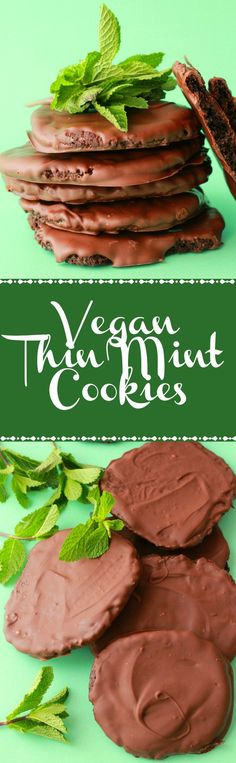 Vegan Thin Mint Cookies smothered in minty dark chocolate! Vegan | Vegan Dessert | Vegan Cookies | Vegan Recipes | Vegan Food