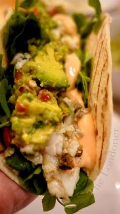 "Unbelievably delicious! | The Londoner: Epic Fish Tacos.  Yes I giggled to myself because this is a closeup of a ""fish taco"""
