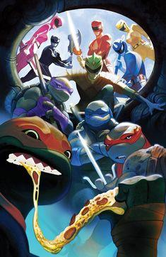 Power Rangers Ninja, Power Rangers Art, Mighty Morphin Power Rangers, Dan Mora, Tmnt Wallpaper, Dc Comics Vs Marvel, Batman Artwork, Cartoon Crossovers, Teenage Mutant Ninja Turtles