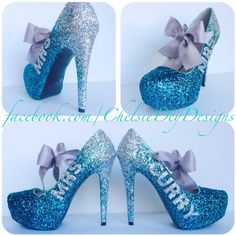 Glitter High Heels Mrs Wedding Pumps Silver Teal Ombre Platform Pumps... (€105) ❤ liked on Polyvore featuring shoes, pumps, light blue, women's shoes, silver platform shoes, silver shoes, high heel pumps, bow pumps and silver pumps