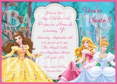 Disney Princesses Birthday Party Invitation with Your Childs Photo
