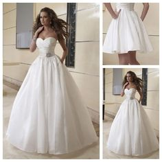 Custom Made Top Quality Informal & Casual Ball Gown Mid Back Ruched Taffeta Pleated Bodice Ball Gown Wedding Dress With Pockets $198.99