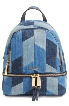 Michael Kors 'Small Rhea Zip' Denim Backpack available at #Nordstrom #michaelkors #relogiosmichaelkors #louisviutton #storelatinabrasil #storelatina