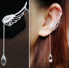 Gorgeous PAIR of angel wing ear cuffs with tear drop crystal Free shipping, tax included, Pay Pal Accepted Only $20 for 2 in my store www.janns-jazzy-jewels.myshopify.com