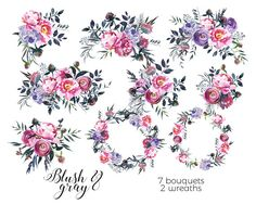 Watercolor Flowers Pink Gray Florals Digital Clipart PNG