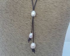 Leather pearl lariat - pink pearl leather necklace - rustic boho necklace - 3rd anniversary gift leather necklace - pearl slider necklace -  by TheRusticBohoChic on Etsy