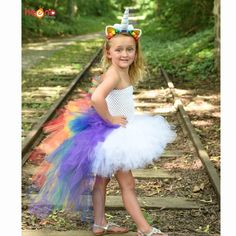 Bright Rainbow Unicorn Bustle Tutu Dress Girls Pony Dress with Colorful Mane Children Birthday Halloween Costume Holiday Dress Unicorn Halloween Costume, Halloween Costumes For Kids, Toddler Unicorn Costume, Robes Tutu, Unicorn Dress, Pony Party, Unicorn Birthday Parties, Birthday Tutu, Unicorn Party