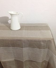 Linen Tablecloth with White Stripes Spaciously by Linenbeeshop