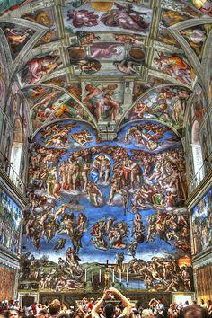 """Musée du Vatican - Fresque de Miguel Ange dans la chapelle Sixtine. """"No camera, qu'ils disaient?!?"""""""