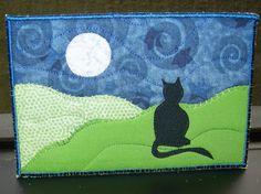 Cat and Moon Fabric Postcard Art Quilt- Landscape Fiber Art by SewUpscale