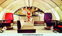 Another epic 747 lounge: JAL's elegant 747 Garden Jet. Hostesses in traditional dress served passengers in the Travel Flights, Jumbo Jet, Air Photo, Old Ads, Air Travel, Luxury Travel, Traditional Dresses, Minimalist Design, Lounge