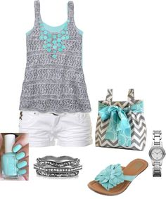 """Aqua and Gray"" by dmac30 ❤ liked on Polyvore Polyvore Clothes  Outift for • teens • movies • girls • women •. summer • fall • spring • winter • outfit ideas • dates • parties Polyvore :) Catalina Christiano by longyly"