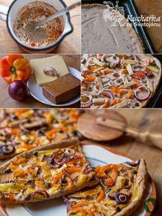 Trochu upravený recept z kuchařky doktora Dahlkeho, je skvělý! Pro 2 osoby.  V míse smícháme 200 g celozrnné špaldové mouky, sůl, špetku cuk... Tacos, Pizza, Vegetarian, Bread, Vegan, Ethnic Recipes, Food, Fitness, Brot
