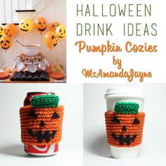 #Pumpkin #CoffeeCozy #CoffeeSleeve #crochet #falldecor #Halloween  by MsAmandaJayne, $15.00
