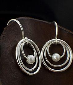 My Three Hoops Petite Earrings - Sterling Silver with Swarovski Pearls #unkamengifts #giftsforher