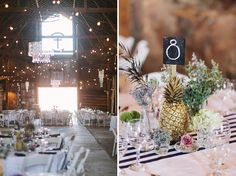 Spray paint pineapples to use as centerpieces. Description from…