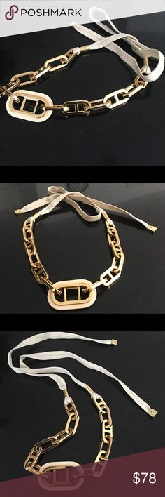 Tory Burch Belt- Gorgeous- Sexy-BEST PRICE! Gold chain belt with cloth adds pizazz and style to any outfit. Hip and super stylish Tory Burch Accessories Belts