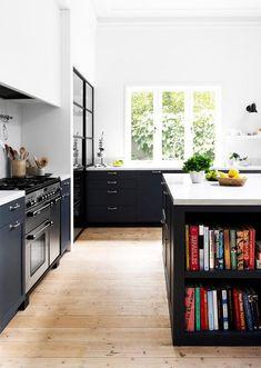 Black and white modern kitchen. | Photo: Martina Gemmola | Story: Australian House & Garden
