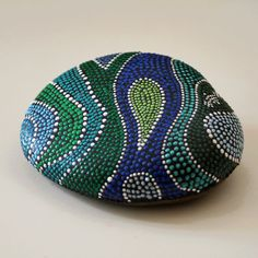 Hand Painted Rock with Ocean Wave Dots