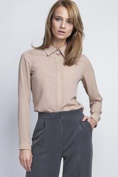 Mocha Brown Long Sleeves Classic Ladies Shirt