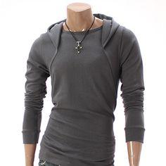 Mens Casual Long Sleeve Hoodie Shirt (010D-GRAY)