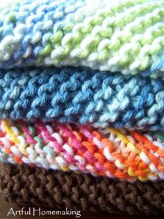 """Simple, beautiful knitted dishcloth pattern! Sometimes called """"Grandmother's Favorite Dishcloth Pattern,"""" it's so easy you'll want to make lots of them!"""