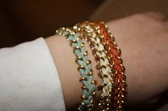 DIY Bracelet, one on the left is DIY - others are from Nordstrom... looks so easy!
