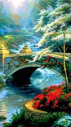 White Japanese Flowering Bridge ~ c.c.c~Thomas Kinkade