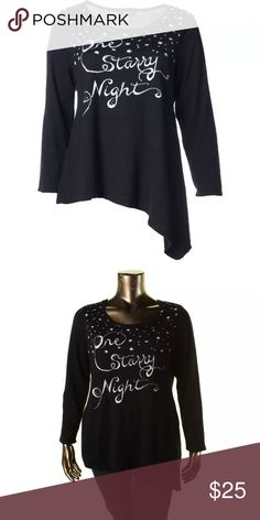 NWY STYLE & CO BLACK STARRY BLING TOP HI/LOW TOP NWY STYLE & CO BLACK STARRY BLING TOP HI/LOW TOP Sz OX / XL.  Manufacturer: Style & Co. Size: 0X Size Origin: US Manufacturer Color: Deep Black Combo Retail: $59.50 Condition: New with tags Style Type: Sweater Collection: Style & Co. Sleeve Length: Long Sleeve Bust Across: 21 Inches Neckline: Scoop Material: 55% Cotton/25% Polyester/20% Viscose Fabric Type: Knit Specialty: Asymmetric 073117–14 drnerds Style & Co Tops Tunics