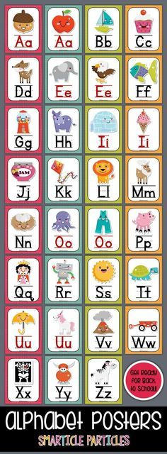 Fun set of alphabet posters with cute Kawaii style graphics. Perfect for any early childhood classroom! Preschool Classroom, Preschool Learning, Classroom Themes, Preschool Activities, Teaching, Alphabet Charts, Alphabet Posters, Special Education Activities, Back To School Activities