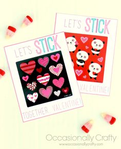 Occasionally Crafty: Sticker Class Valentines or Friend's Valentine's Day Gift for Kids {Free Printable}